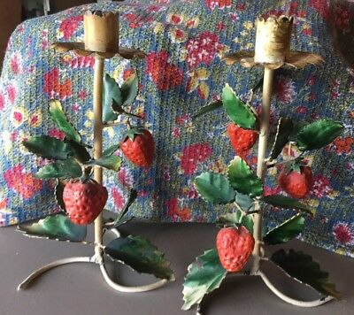 Vintage Pair Tole Painted Strawberry Vine Metal Candle Stands/Sticks