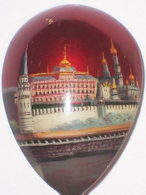 Great Vintage Russian Silver 84 Lacquer Red Enamel Kremlin Spoon Antique Russia