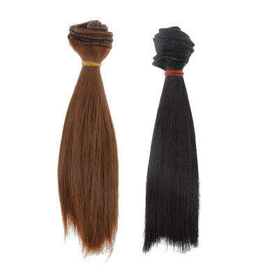 2 Straight Hairpiece Wig Black & Brown Color 15x100cm for Doll Barbie BJD