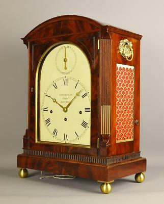 REGENCY MAHOGANY 8 BELL BRACKET TABLE CLOCK - Yonge and Son , London