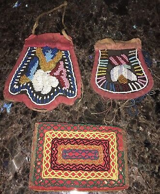 Vintage Iroquois Woodlands Native American Beaded Purses And Wallet