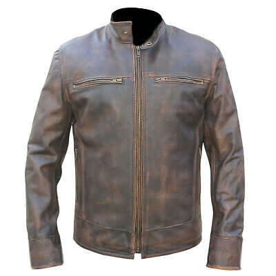 Men's Retro URBAN Vintage Distressed Brown Triple Stitched Biker Leather Jacket