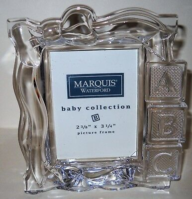 """MARQUIS WATERFORD CRYSTAL BABY BLOCKS PICTURE FRAME 2 3/8"""" x 3 1/4"""" NIB"""