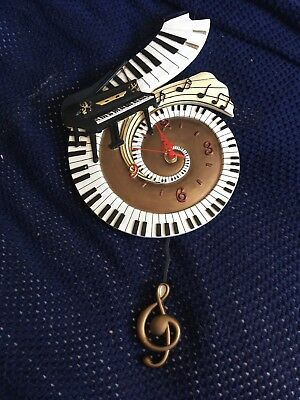 Piano Wall Scroll Clock - treble clef with Piano - stunning present!