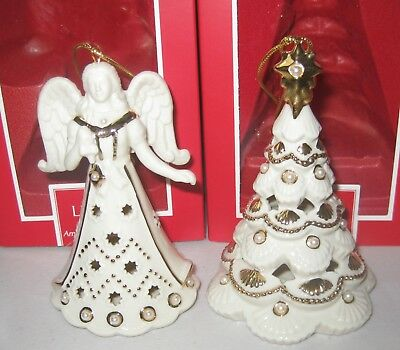 Lenox Angel and Christmas Tree Florentine and Pearl Christmas Ornament Set $120