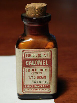 Calomel ORIGINAL w/Wintergreen #100 1/10 grain Tablet Triturates Parke Davis