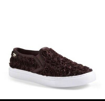 6c954d98a47 NEW TORY BURCH ROSETTE Slip-on Sneaker Dark Brown Roses Textile Leather Sz  8.5