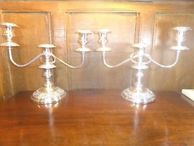 EXCELLENT Silver Plate on Copper PAIR 3 light CANDELABRA/CANDLESTICKS - 29cms