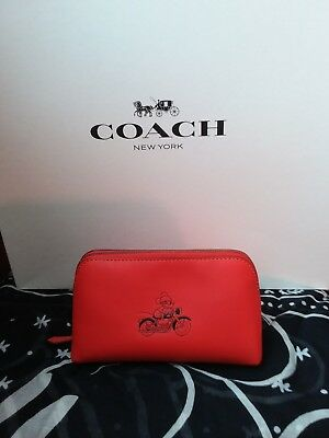 36d3b29a24 Coach LE Disney X Red Leather Motorbike Mickey Mouse pouch case cosmetics  NWT