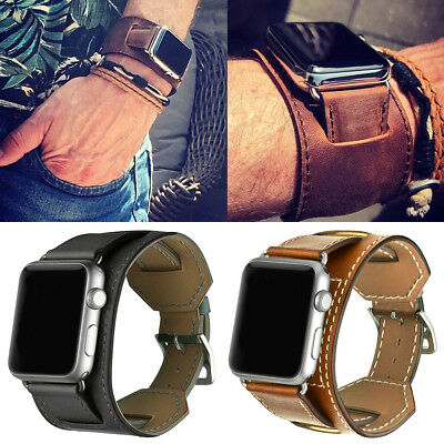 Genuine Leather Strap Band Cuff Bracelet for Apple Watch 4 321 38/42/44mm iWatch
