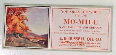 Russell Oil, Little Rock, Arkansas Ink Blotter Mo-Mile Gasoline Oils and Greases