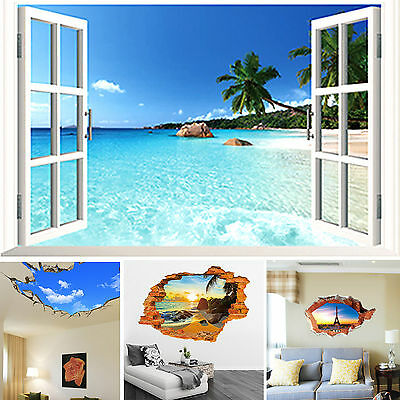DIY 3D Beach Window Scenery Wall Stickers Vinyl Art Mural Decal Porch Home Decor