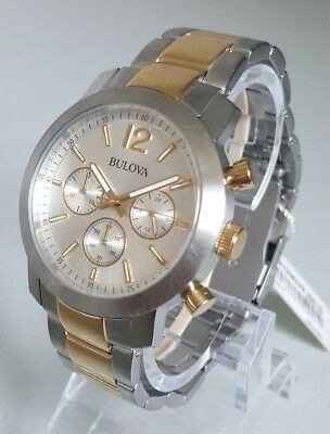 Bulova 98A145 Men's 40mm Two-Tone Chronograph Watch $350 *EX-DISPLAY+SHIPS FREE*