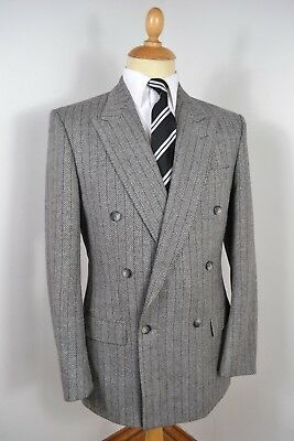 Vintage 1980 Ugo Pellegrini Grey Double Breasted Wool 2 Piece Suit Medium 40 Reg