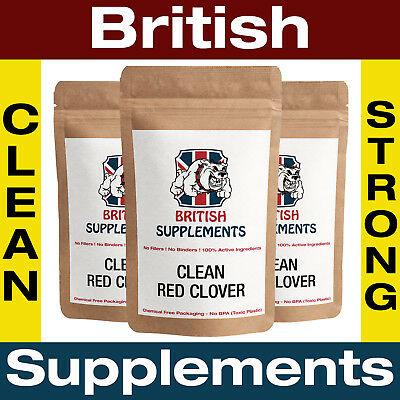 Clean Red Clover Capsules 8,372mg (51mg Isoflavones) Flushes British Supplements