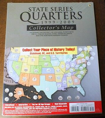 State Quarter 1999 - 2009 Coin Set Large Collector's Map Whitman Album Folder