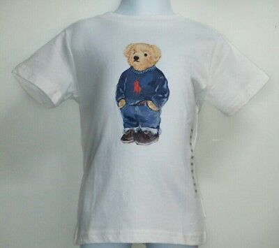 03e8f84af POLO BEAR by Ralph Lauren Boys Kids White T-Shirt Bear in Sweater LIMITED  EDITIO