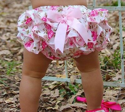 Baby Pink Floral Baby Girl frilly knickers Bloomers nappy cover