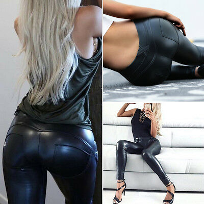 Womens Ladies Wet Look PU Leather High Waist Leggings Stretch Pant PVC Trousers