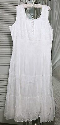 NEW~ PLUS SIZE 3X White Tiered Boho Lace Pearl Tie Mlle Long Maxi ...