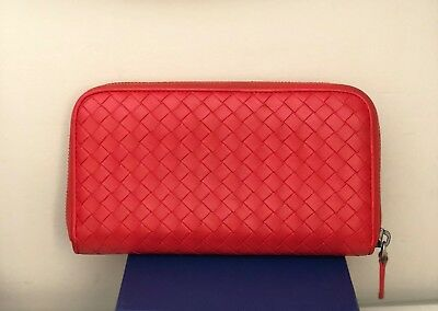 NWT Bottega Veneta Intrecciato Zip Around Leather Wallet VESUVIO RED  770 222cc8fc9ece4
