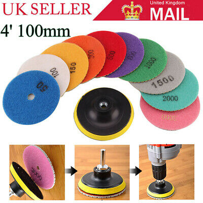"11X Diamond Polishing Pads 4"" Grinding Disc For Granite Marble Concrete Stone UK"