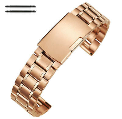 Rose Gold Steel Metal Bracelet Replacement Watch Band Strap Push Button #5018