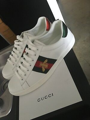 94155e884a9 GUCCI BEE MENS Leather Ace embroidered Sneakers White Size EU 44 US ...