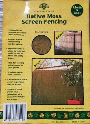 Native Moss Screen Fencing Roll Fence 1.5M(H)x3m(W) Privacy Blockout