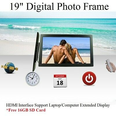 """New 19"""" LED HD 1080P Digital Photo Frame Free 16GB SDcard Remote Picture Album"""