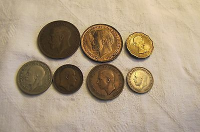 Lot of 7 Great Britain Coins - 1929 Shilling, 1936 Sixpence, 1953 Threepence