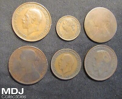 Lot of 6 Great Britain Coins - 1861 Penny, 1884 Penny, 1886 Farthing, 1928 Penny