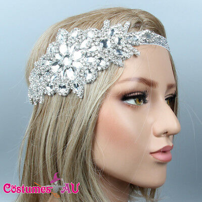 1920s Headband Bridal Great Gatsby Party 20s Silver Flapper Headpiece Gangster