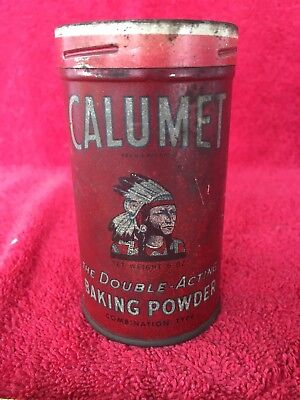 Vintage Calumet Baking Powder 6 Ounce Older Native American Indian Chief Tin Can