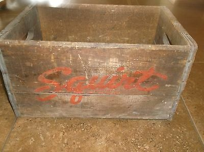 "Vintage Distressed Squirt Soda Pop Wooden Box, Metal Edges, 9"" x 10"" x 16"" Cola"