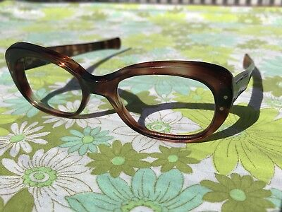 ORIGINAL VINTAGE NOS 1960s Glasses Spectacles Reading eye glasses Frames Brown