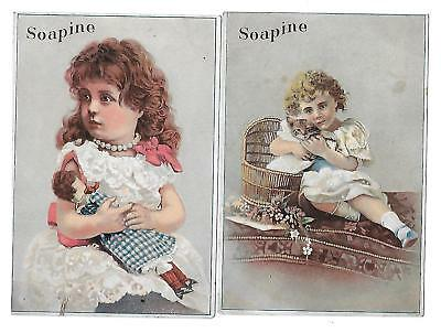 2 Victorian  Trade Cards For Soapine  Soap By Kendall Mfg. Co. Providence, R.i