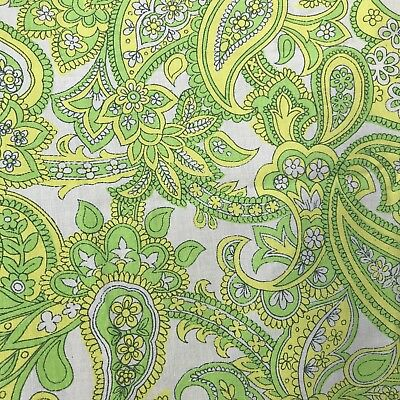 Green Paisley FABRIC vintage retro material 1960s 1970s textile M