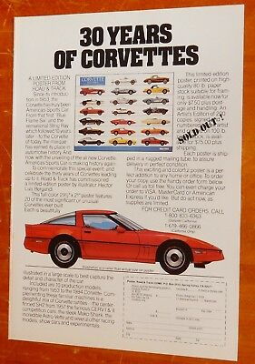 30 Years Of Corvette 1984 Poster Ad - Retro 80S Chevy Vintage Chevrolet Classic