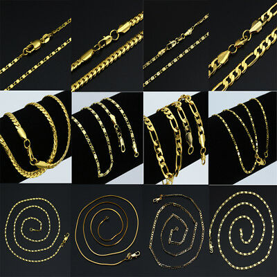 18K Gold Plated Mens Womens 316L Stainless Steel Figaro Chain Necklace 16-30inc