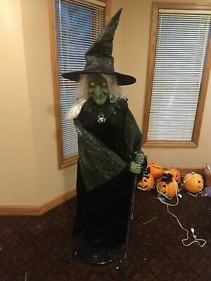 gemmy life size witch animated prop halloween animatronic working
