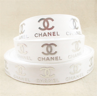 Grosgrain Ribbon Chanel White + Silver Writing 22mm (1m, 2m or 5m + Bundle)
