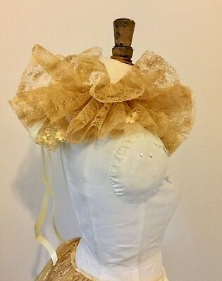 Gold lace circus neck ruff, pierette clown, Burlesque costume.