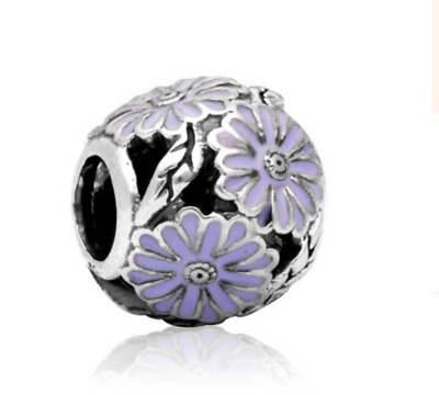 5 PCs Tibetan Silver Metal Beads dread beads 5mm hole-purple flower