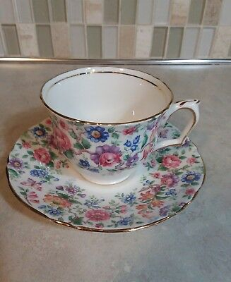 Crown Staffordshire England Springtime Cup Saucer Floral Chintz Gold Trim