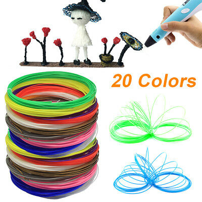 20 Colours 3D Pen Filament Refills 1.75mm ABS Printing Ink Drawing 20 x 20 ft UK