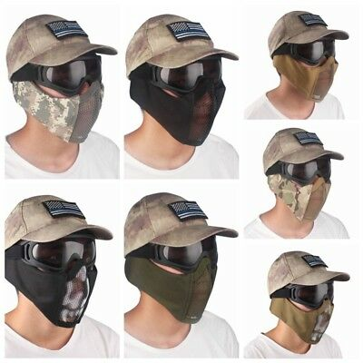 Tactical Metal Steel Mesh Military Combat Game Protective Gear Half Face Mask AU