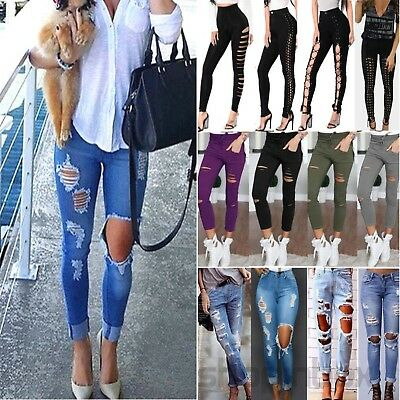 Women Fashion Ripped Distressed Jeans Stretch Denim High Waist Pants Leggings AU