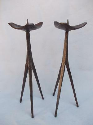 105 / Beautiful Pair Of A Hand Made Wrought Iron Pricket Candlesticks