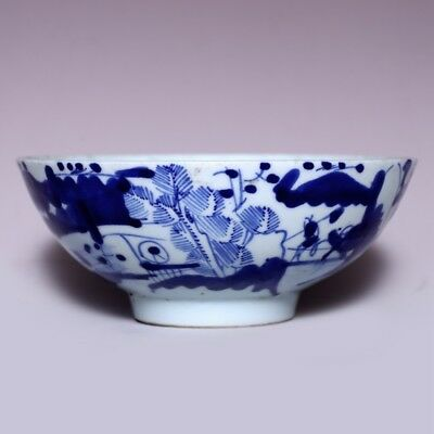 Unique Chinese Antique Early Qing Dynasty Kangxi blue and white Old Bowl JZ123